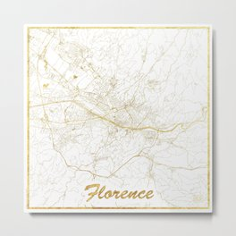 Florence Map Gold Metal Print