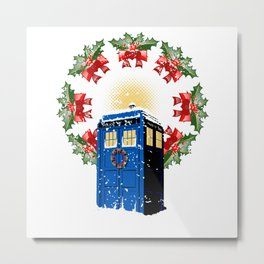 A WARM AND CONFORTABLE TARDIS I N THE SNOWSTORM Metal Print