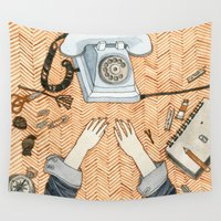 notebook Wall Tapestries featuring Waiting for a call by Yuliya