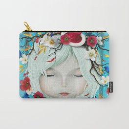 head of girl and flowers Carry-All Pouch