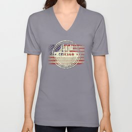 Chicago City silhouette with US flag Gift Unisex V-Neck