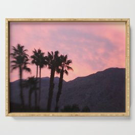 Palm Springs, California, pink, cactus, desert, desert photography, photography Serving Tray