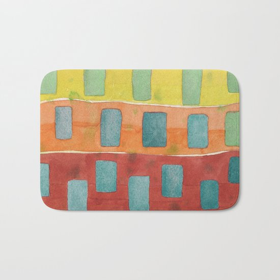 Placed in a Red Orange Yellow Field Bath Mat