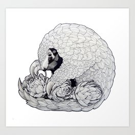 Pangolin & Artichoke Art Print