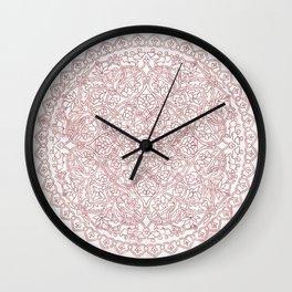 Rose Gold Marble Mandala Wall Clock