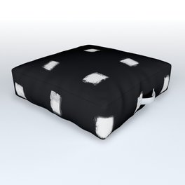Polka Strokes Gapped - Off White on Black Outdoor Floor Cushion