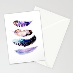 Watercolor Feathers Stationery Cards