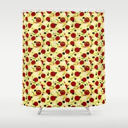 Pizza Toppings Pattern Shower Curtain