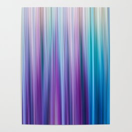Abstract Purple and Teal Gradient Stripes Pattern Poster
