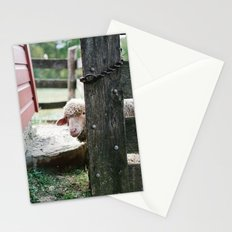 Adorable Sheep Peeking Out From Behind Fence Stationery Cards