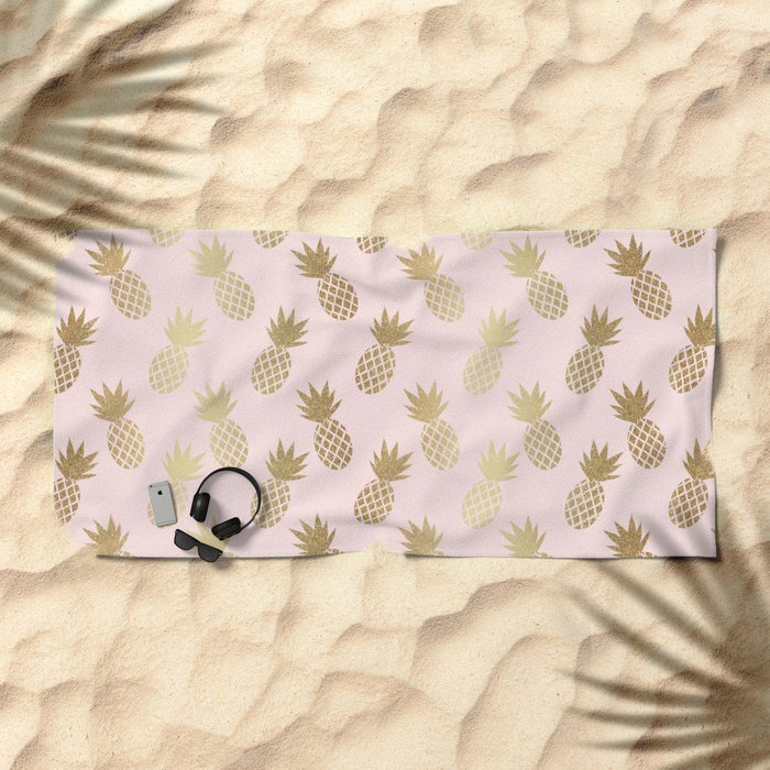 Pink & Gold Pineapples Beach Towel