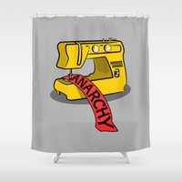 anarchy Shower Curtains featuring Anarchy Sewing Machine by mailboxdisco