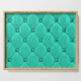 Jade Green Diamond Tufting Pattern Serving Tray