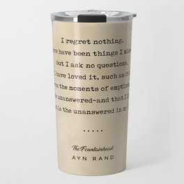 Ayn Rand Quote 03 - Typewriter Quote on Old Paper - Minimalist Literary Print Travel Mug