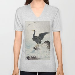 Cormorants at stormy sea - Japanese vintage woodblock print art Unisex V-Neck