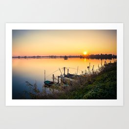 Brackish lagoon sun set over lake Art Print