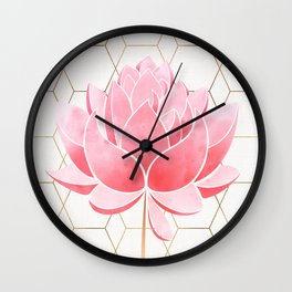 Lotus Blossom - Blush Pink and Metallic Gold Wall Clock