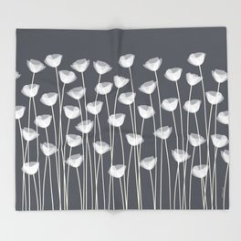 White Poppies Throw Blanket