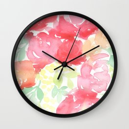 Red Blooms with Wattle Wall Clock