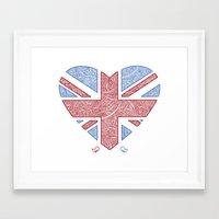 union jack Framed Art Prints featuring Union Jack  by Joanne Hawker