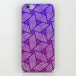 Japanese style wood carving pattern in purple iPhone Skin