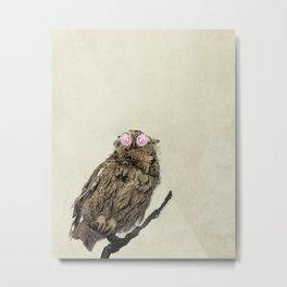 Owl with Pink Rose Eyes on Beige with Vintage Texture Metal Print