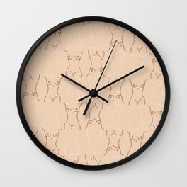 Nude, nudes line drawing/ pattern of female body Wall Clock
