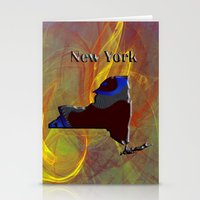 new york map Stationery Cards featuring New York Map by Roger Wedegis