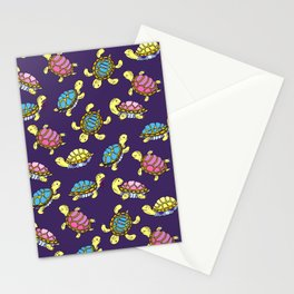 Turtles on purple Stationery Cards