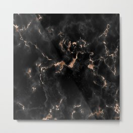Rose Gold and Black Marble Metal Print