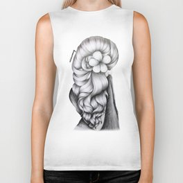 Black & White Pencil Sketch - Wavy Hair Flower Girl Biker Tank