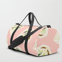 Terrarium Pattern Pastel Pink and Gold Duffle Bag