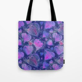 Deep pink and blue hand drawn hearts pattern Tote Bag