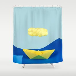 The yellow cloud over the yellow ship Shower Curtain