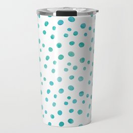 Small Blue Watercolor Abstract Polka Dots Travel Mug