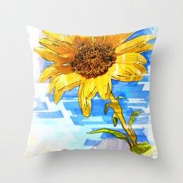 Sunflower Single Marker - For Flower Lovers Throw Pillow