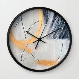 Midnight Time Lapse: a minimal, abstract mixed-media piece by Alyssa Hamilton Art in Gold, Black Wall Clock