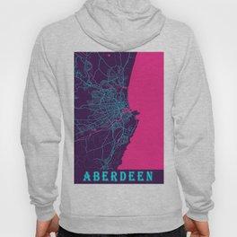 Aberdeen Neon City Map, Aberdeen Minimalist City Map Art Print Hoody