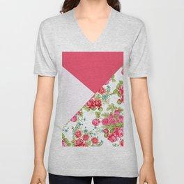 Geometric pink red white roses floral color block pattern Unisex V-Neck
