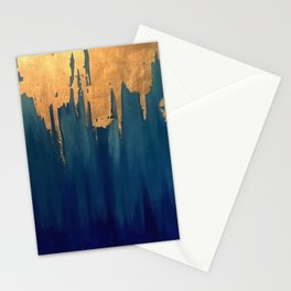 Gold Leaf & Blue Abstract Stationery Cards