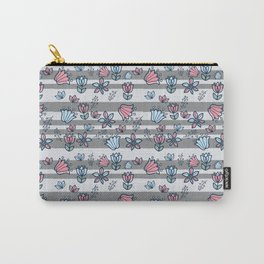 Gray stripes with pink and blue flowers Carry-All Pouch