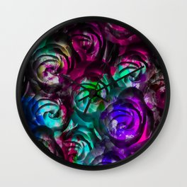 closeup rose texture pattern abstract background in red purple blue Wall Clock
