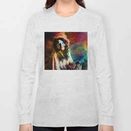 1970 Woman Of Rock And Roll By Annie Zeno Long Sleeve T-shirt