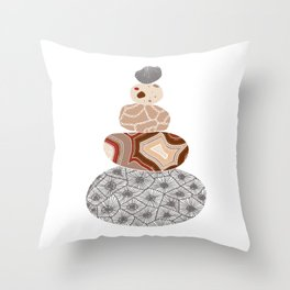 Colored Stack of Great Lakes Rocks Throw Pillow