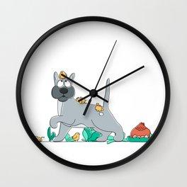 dog and chicks Wall Clock