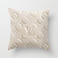 lv Throw Pillows featuring LV Cream by Beauti Asylum