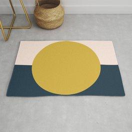 Horizon. Mustard Yellow Sun Dot on Pale Blush Pink and Navy Blue Color Block. Minimalist Geometric Rug