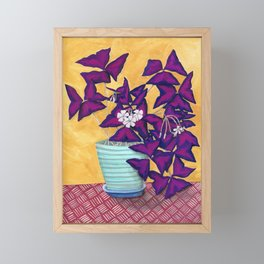 Purple Shamrock Houseplant Painting Framed Mini Art Print