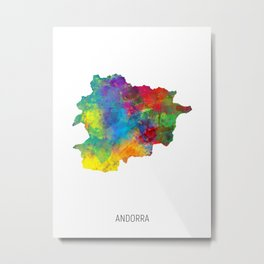 Andorra Watercolor Map Metal Print