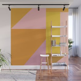 Shapes in Vintage Modern Pink, Orange, Yellow, and Lavender Wall Mural